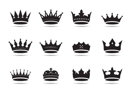 Set of of black vector king crowns and icon. Vector Illustration. Emblem and roual symbols. 일러스트