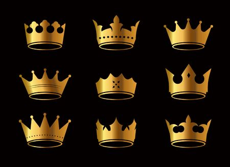 Set of golden vector king crowns and icon on black background. Vector Illustration. Emblem and royal symbols.