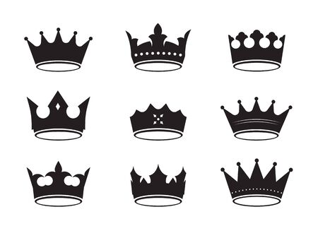 Set of of black vector king crowns and icon. Vector Illustration. Emblem and roual symbols. Ilustrace