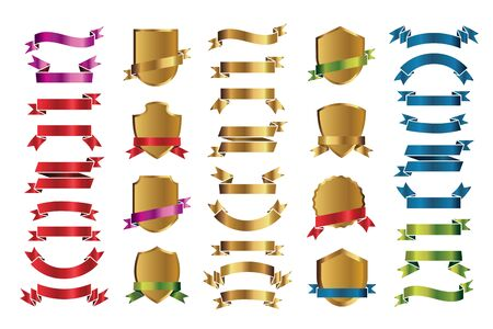 Set of outline golden shields and color Ribbons. Vector Illustration and graphic elements.