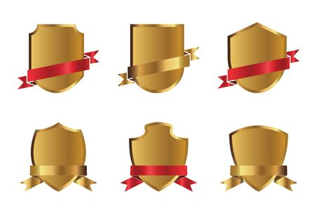 Set of outline golden shields, red ribbons and graphic elements. Vector Illustration. Illusztráció