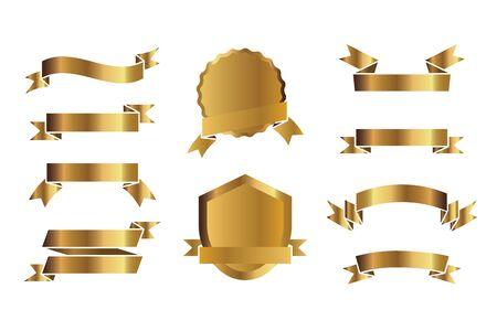 Set of outline golden shields. Vector Illustration and graphic elements. Illusztráció