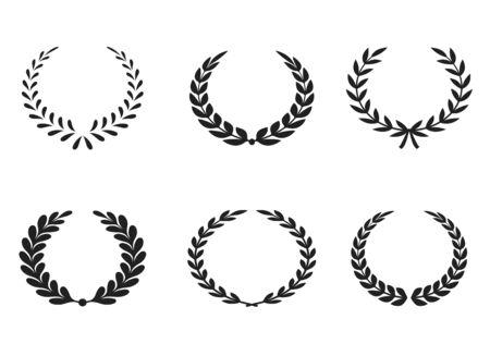 Ensemble d'icônes vectorielles Premium Laurel sur fond blanc. Illustration vectorielle EPS. Emblème et symboles. Vecteurs
