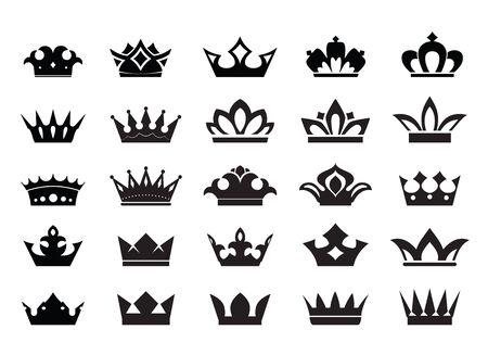 Big Set of vector king crowns icon on white background. Vector Illustration. Emblem and Royal symbols. Illustration