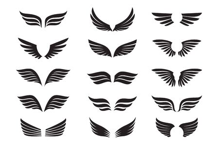 Juego de alas negras. Ilustración vectorial e iconos de contorno. Símbolo de libertad. Ilustración de vector