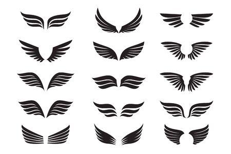 Set di ali nere. Illustrazione vettoriale e icone di contorno. Simbolo di libertà. Vettoriali