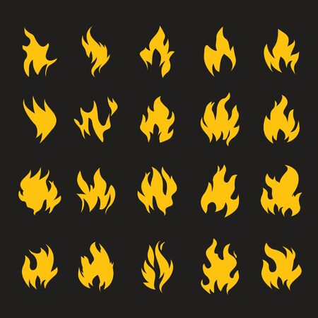Big Collection of Fire and Flame icons on black background. Vector Illustration and graphic outline elements. Ilustração