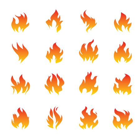 Big Collection of Fire and Flame icons on white background. Vector Illustration and graphic outline elements.