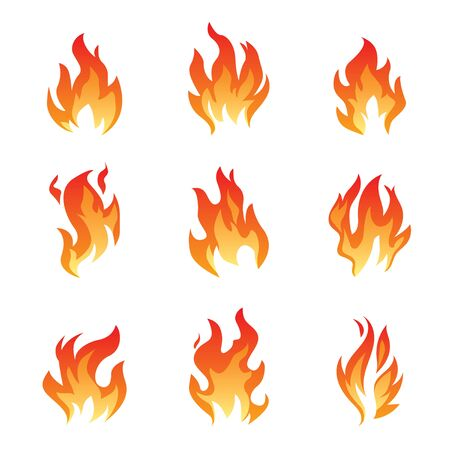 Collection of Fire and Flame icons. Vector Illustration and graphic outline elements. Векторная Иллюстрация