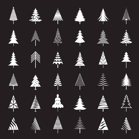 Set of white Christmas Trees. Winter season design elements and simply pictogram collection. Isolated vector xmas Icons and Illustration.