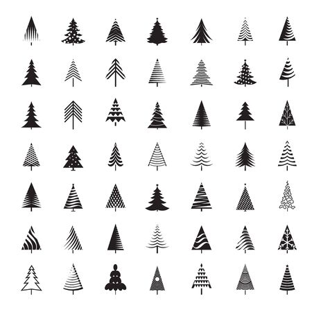 Set of black Christmas Trees. Winter season design elements and simply pictogram collection. Isolated vector xmas Icons and Illustration.