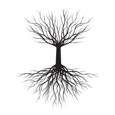 Black Tree white background. Vector Outline Illustration.