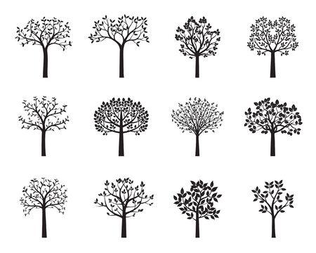 Set van zwarte vector bomen. Vorm van planten. Vectorillustratie.