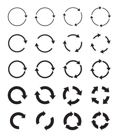 Sets of black circle and download arrows. Vector Icons. Graphic for website.