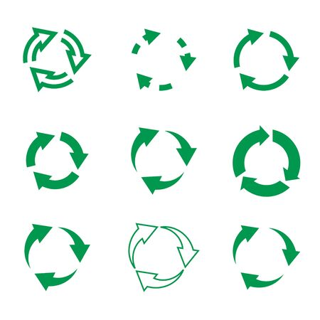Set of vgreenector refresh and recycling arrows for web. COLLECTION OF ICONS.