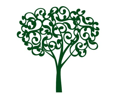 Spring decorative Tree of Life. Silhouette shape with Leaves. Vector outline Illustration. Plant in Garden. Royalty free vector object.
