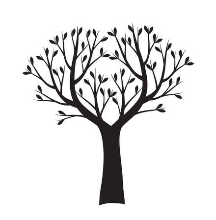 Black tree. Vector outline Illustration. Plant in Garden.