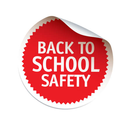 Red vector sticker. Back to School. Vector emblem and logo.