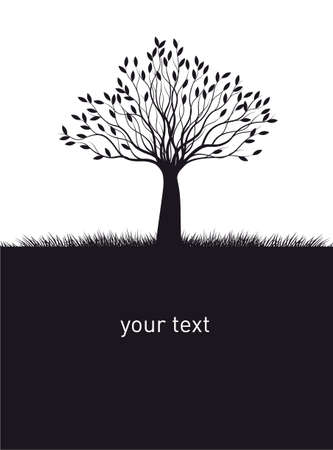 Shape of black Naked Tree and your text. Vector outline Illustration. Plant in Garden.