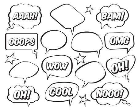 Set of comic speech balloons on white background. Vector Illustration.