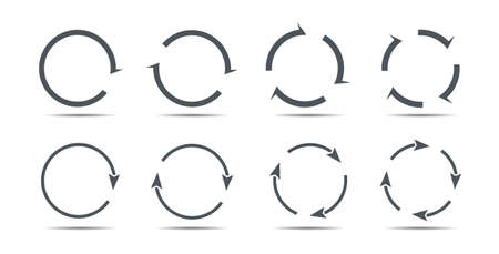 Set of gray circle arrows. Vector Icons. Graphic for website.