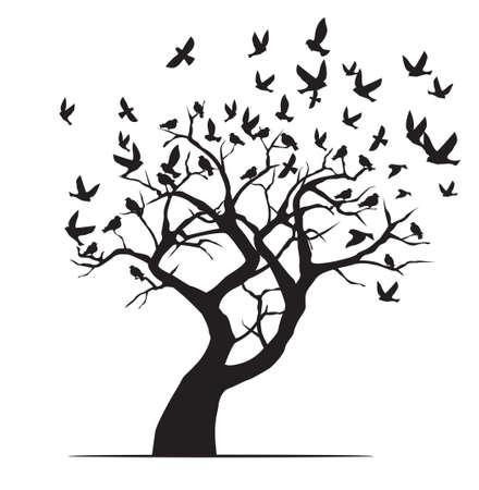 Winter tree and black birds. Vector outline Illustration. Plant in Garden. EPS file.