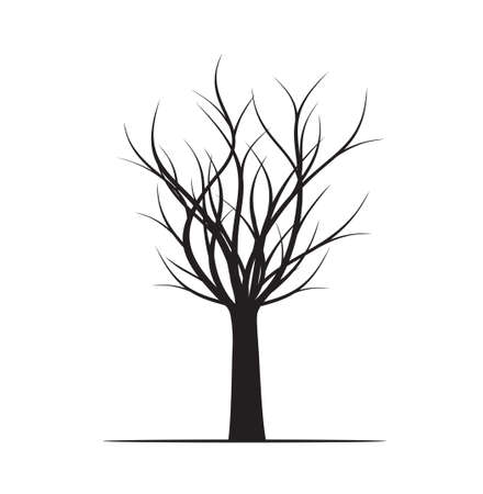 Winter Tree. Vector outline Illustration. Plant in Garden.