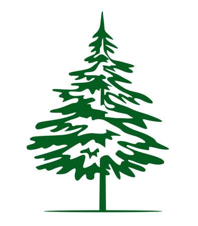 Green Christmas Tree. Vector illustration and Icon. Illustration