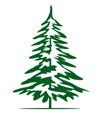 Green Christmas Tree. Vector illustration and Icon. Illustration