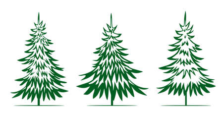 A set of green Christmas Trees. Winter season design elements and simply pictogram collection. Isolated vector xmas Icons and Illustration.