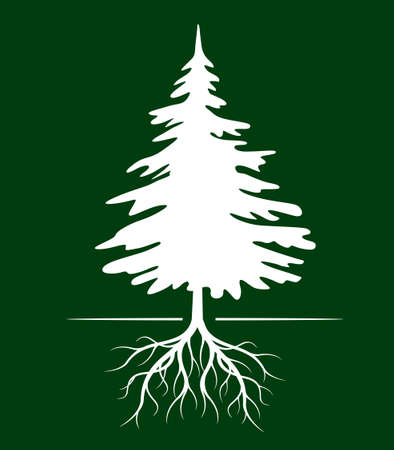 White Christmas Tree on green Background. Vector illustration and icon.