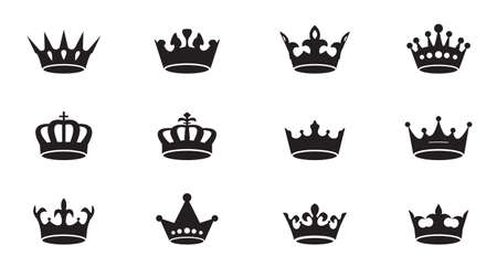 Set of vector king crowns icon on white background. Vector Illustration. Emblem, icon and Royal symbols.
