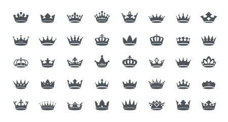 A set of gray vector king crowns icon on white background. Vector Illustration. Emblem, icon and Royal symbols. Vektoros illusztráció