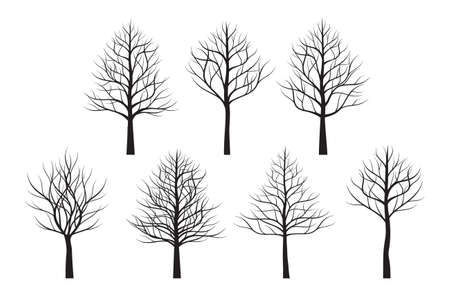 A set of black Trees. Vector outline Illustration. Plant and Garden.