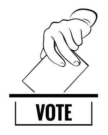 Hand with card and vote. Vector Illustration and icon.