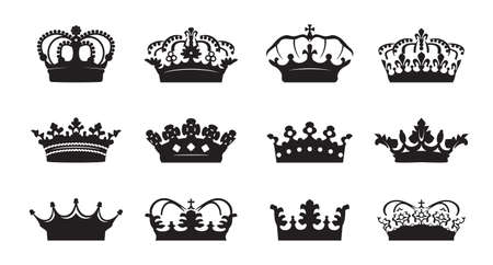 Set vector king crowns icon on white background. Vector Illustration. Emblem, icon and Royal symbols.