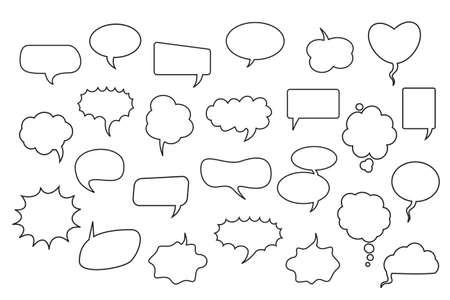 A set of comic speech balloons on white background. Vector Illustration. Vetores