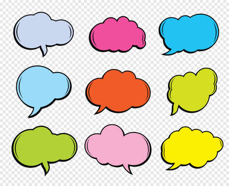 A set of comic speech balloons on transparent background. Vector Illustration.