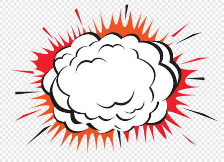 Color comic speech bubble and empty space on transparent background. Ballon and explosion. Vector Illustration and graphic elements. Ilustração