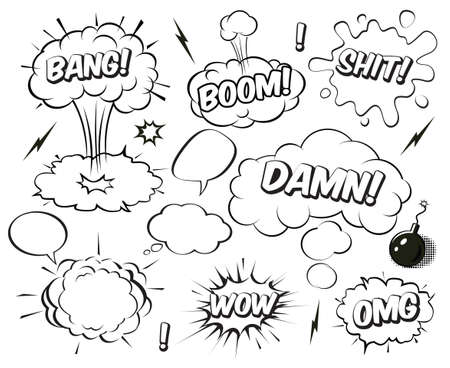 A set of comic speech balloons and Boom explosion bubbles. Vector Illustration.