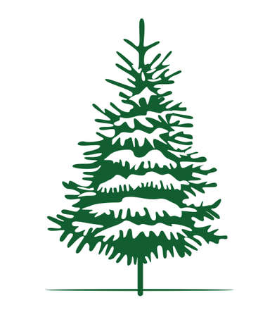 Green Christmas Tree and Sow. Vector illustration and Icon. Vecteurs