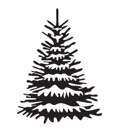 Black Spruce Tree with snow. Vector Christmas ornament and illustration, Icon. Evergreen Tree.
