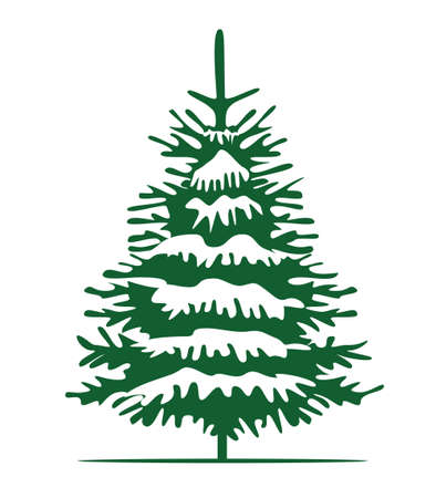 Green Christmas Tree and Sow. Vector illustration and Icon.