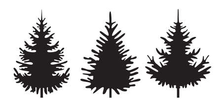 A set of black Christmas Trees. Winter season design elements and simply pictogram collection. Isolated vector Icons and Illustration.