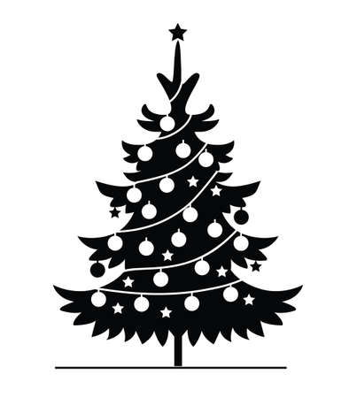 Black Christmas Tree with decoration. Vector Christmas ornament and illustration, Icon. Evergreen Tree.