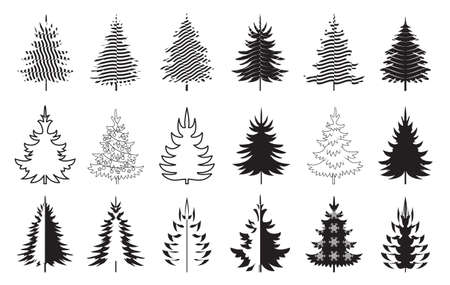 A set of black Christmas Trees. Winter season design elements and simply pictogram collection. Isolated vector xmas Icons and Illustration.
