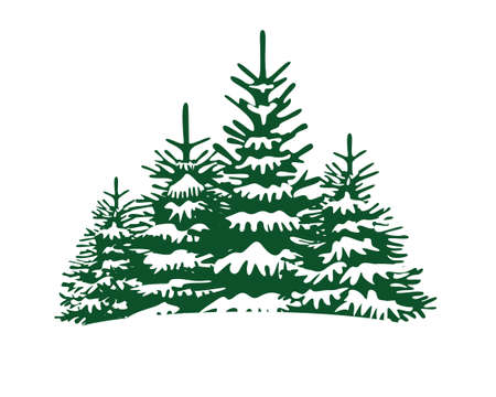 Spruce Trees. Winter season design elements and simply pictogram. Isolated vector Christmas Tree Icons and Illustration.