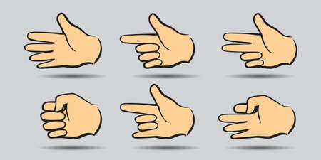 Set hands on white background. Vector Illustration and icon.