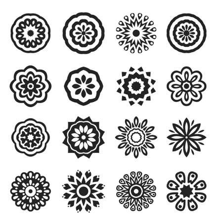A Set of Black Stars. Vector Illustration. Mandala and geometric flowers