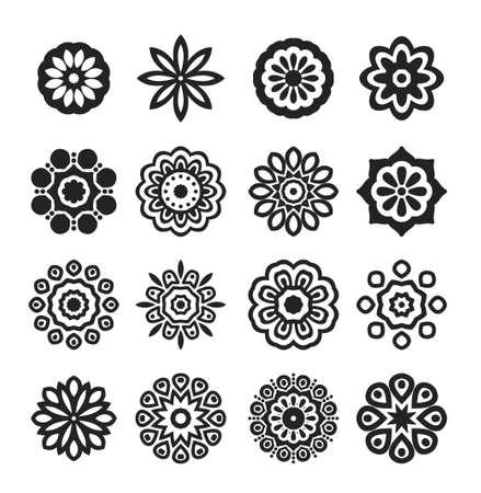 A Set of Black Stars. Vector Illustration. Mandala and geometric flowers